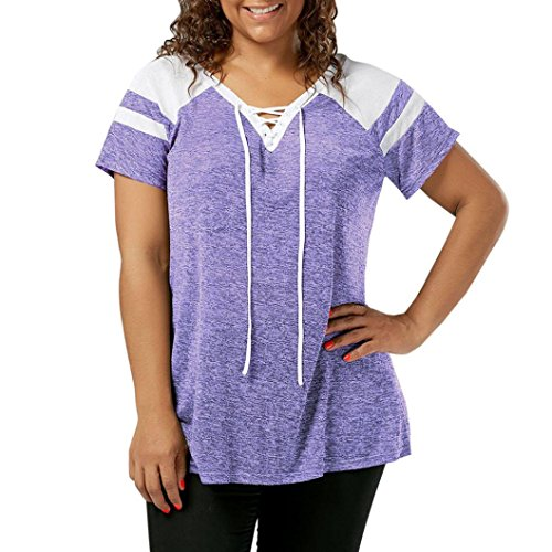 Forthery Womens Tunic Tops V Neck Lace Up Short Sleeve Ruffled Blouses Shirt Plus Size (XL, Purple) (Racerback Cowl)