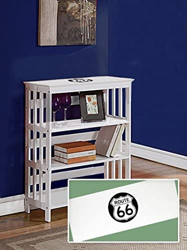 The Furniture Cove New White Finish Sofa Table Book Shelf with Route 66 Theme