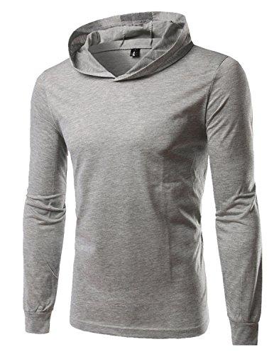 LIANIHK Herren mit Kapuze Casual Langarm T-shirt Streetwear Solide Lose Tees