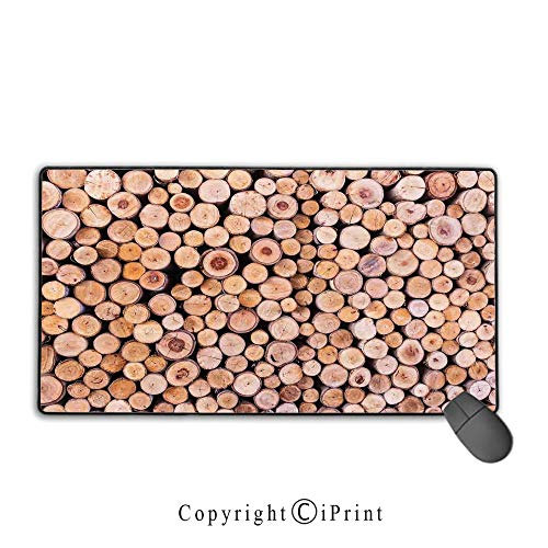 Stack Aluminum Twin (Mouse pad with Lock,Rustic Home Decor,Mass of Wood Log Forest Tree Industry Group of Cut Lumber Circle Stack Image,Cream,Ideal for Desk Cover, Computer Keyboard, PC and Laptop,15.8