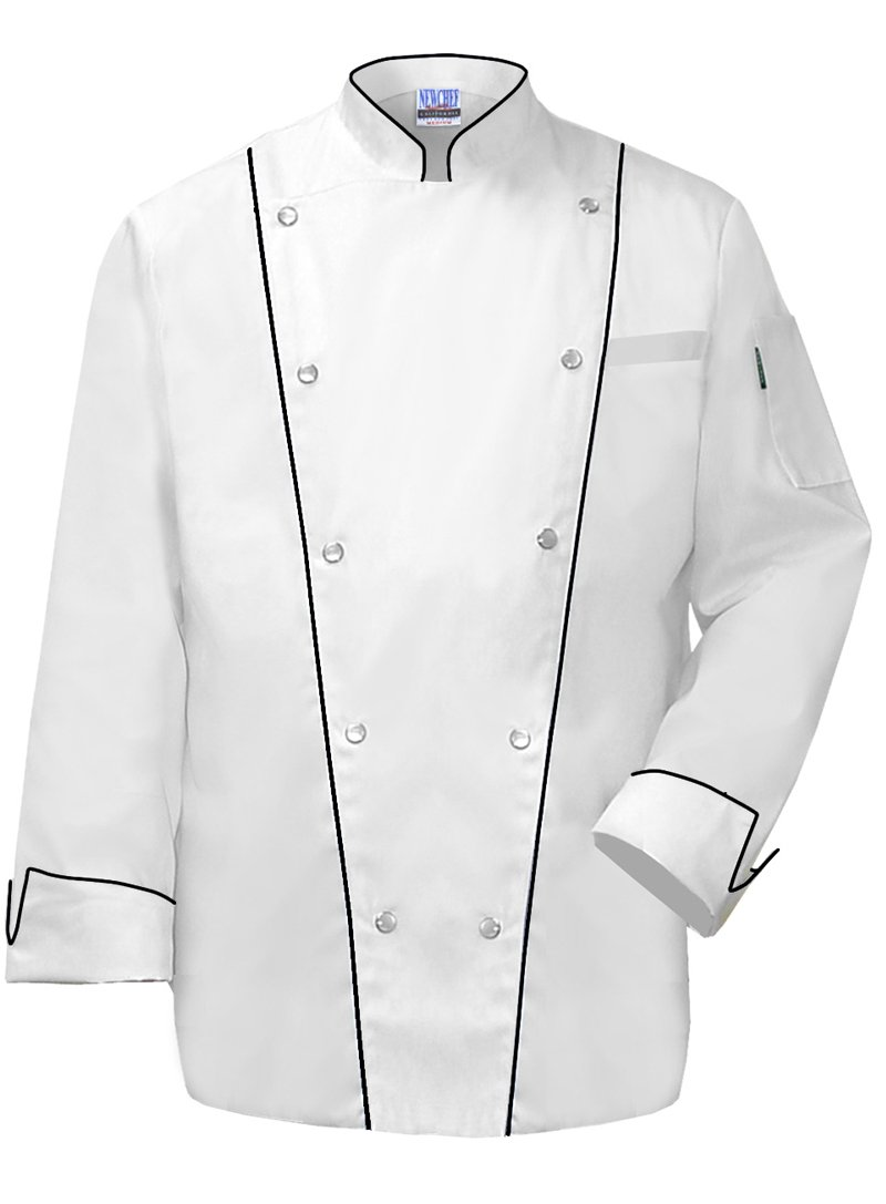 Newchef Fashion Royal Chef Coat Black Trim 2XL White by Newchef Fashion