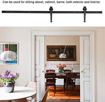 2.4 M/8FT Kit Rail puerta corredera de techo polea puerta de acero para puertas correderas armario galandage granero armario mueble: Amazon.es: Bricolaje y herramientas