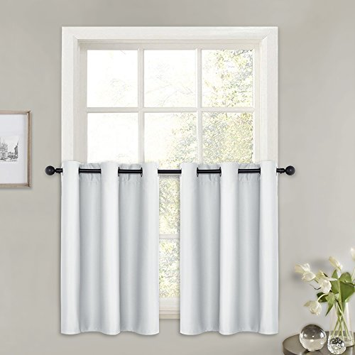 PONY DANCE Short White Curtains - (42 x 36 inches, Greyish White, 2 PCs) Grommet Top Blackout Curtain Valances for Half Small Windows Decoration Light Filter Panels