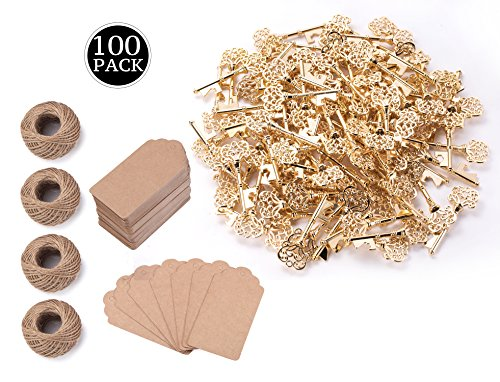 Wedding Favors for Guests Party Favors Rustic Vintage Key Bottle Opener with Escort Card Tag and Twine-3.14 Inches (Pack of 100, Gold)