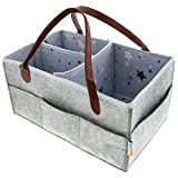 Baby Diaper Caddy Organizer | Portable Large Diaper Tote | Car Travel Organizers | Nursery Boy Girl Diaper Storage Bin | Must Have Newborn Registry Baby Shower