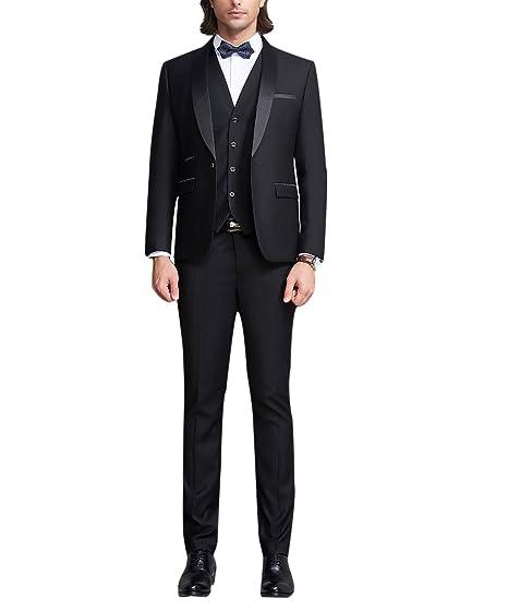 f0bd6336dc81 Mens 3 Piece Suits Wedding Tuxedo Suit for Men Black Business Set Slim Fit  Blazer Waistcoat