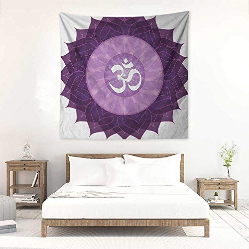 (Willsd Chakra Living Room Square Tapestry Circular Lace Like Point Form with Arabic Lettering The in Node Centre Meditation Image Literary Small Fresh 39W x 39L INCH Purple)