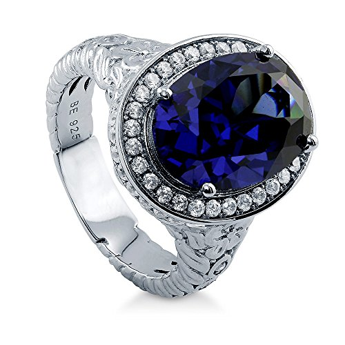 BERRICLE Rhodium Plated Sterling Silver Oval Cut Cubic Zirconia CZ Halo Art Deco Ring Size (Sapphire Art Deco Ring)