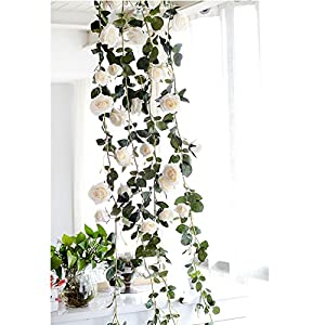 "1 Pcs Artificial Flowers Silk Wisteria Garland Decor Artificial Wisteria Vine Ratta Silk Hanging Flower for Home Garden Outdoor Ceremony Wedding Arch Floral Decor, 1.8M/70.8"" 10"