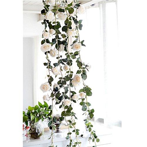 1 Piece Artificial Flowers Silk Wisteria Garland-Dearhouse Artificial Wisteria Vine Ratta Silk Hanging Flower For Home Garden Outdoor Ceremony Wedding Arch Floral Decor, (Ceremony Flower Arrangements)