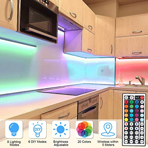 DLIANG RGB LED Strip Light Kit 65.6ft Flexible Tape Lights 5050 SMD RGB 600 LEDs Non Waterproof 20M Rope Light with 44 Keys IR Remote Controller and 12V Power Adapter for Home Kitchen Party Deco