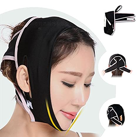 Finlon Face Cheek Chin Lift Up Slim Slimming Sleep Mask Belt Band Strap Anti Wrinkle Mask V Line Facial Mask Slim Up Belt (A)