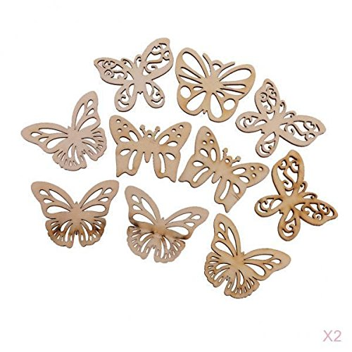 MagiDeal New Hot 20 Pieces Mixed MDF Wood Butterfly Shape Cutout Wooden Scrapbooking Embellishment Art Craft Gift Tags Making Wedding Decoration Hanging Crafts ()