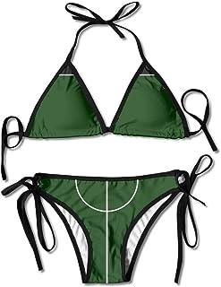 Let's Play Football in Rule Women's Tie Side Bottom Bikini Suits Two Pieces Swimwear