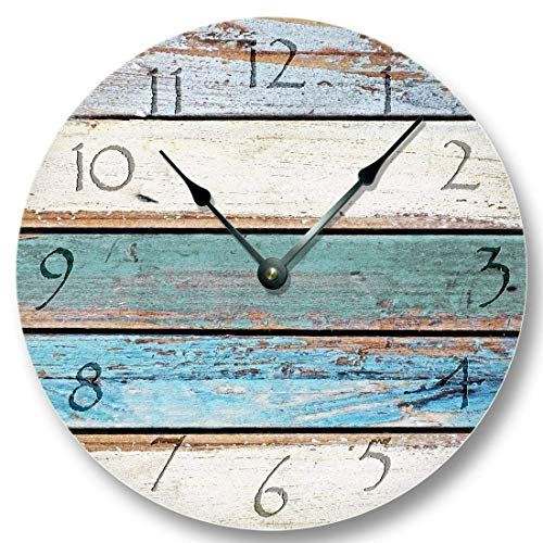 Weathered Beachy Boards wall CLOCK - ocean colors old paint boards printed image on masonite fiber board - shabby beach wall home decor ()