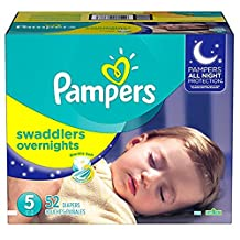 Pampers Swaddlers Overnights Diapers Size 5, Super Pack, 52 Count