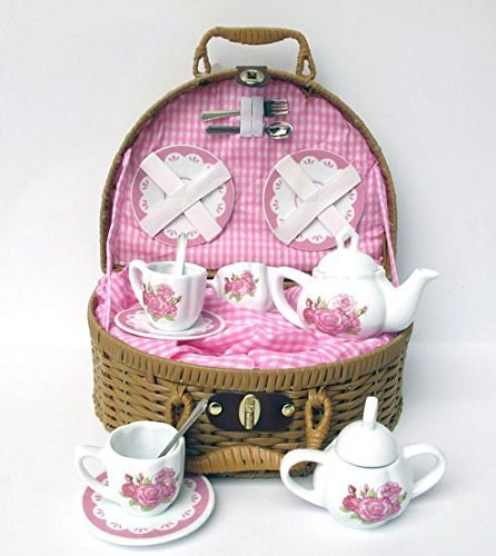 (Delton Laura Rose Porcelain Tea Set with Basket 14 Piece Set)