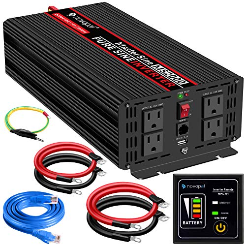 novopal Power Inverter Pure Sine Wave-2000 Watt 24V DC to 110V/120V AC Converter- 4 AC Outlets Car Inverter with One USB Port-5 Meter Remote Control And Two Cooling Fans-Peak Power 4000 Watt