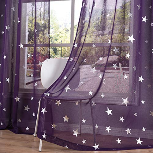 Kotile Purple Sheer Curtains for Girls Room/Kids Room 63 Inch Length 2 Panels, Home Decor Window Treatment Ring Top Curtains with Silver Star Print for Bedroom, Living Room