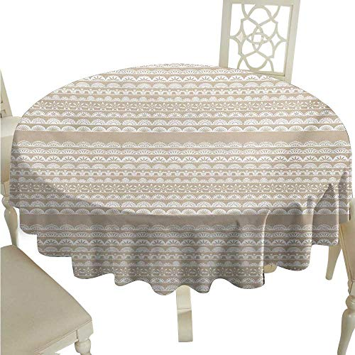 Lace Antique Collection - longbuyer Round Tablecloth Vinyl Fitted Tan and White,Lace Style Antique Border Motifs Collection Vintage and Feminine Ornament,Tan White D50,for 40 inch Table