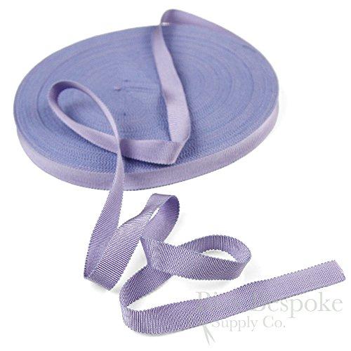 (3 Yards of Vera 9/16'' Cotton & Viscose Petersham Grosgrain Ribbon, Wisteria, Made in Italy)
