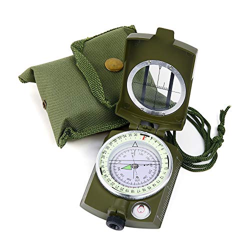 Sportneer Military Lensatic Sighting Compass with Carrying Bag, Waterproof and Shakeproof, Army Green - Metal Lensatic Compass