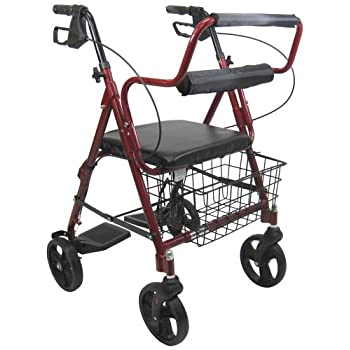 Image of Health and Household Karman Healthcare R-4602-T-BD Aluminum 2-in-1 Rollator/Transport, Burgundy, 8' Casters