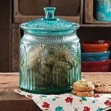 The Pioneer Woman Adeline Glass Cookie Jar,Turquoise   Stunning Glass Cookie Jar - Turquoise