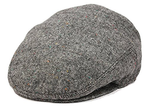Men's Premium Wool Blend Classic Flat Ivy Newsboy Collection Hat (Medium, (Blend Newsboy)