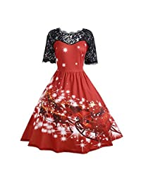Auwer Women's Short Sleeve Christmas 3D Print Lace Party Swing Dress Plus Size