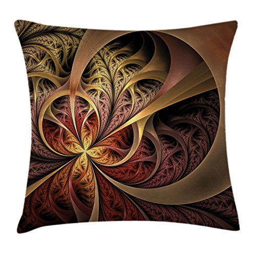 Fractal Throw Pillow Cushion Cover by Ambesonne, Gothic Stylized Artful Swirling Curly Lines Creative Medieval Inspired Display, Decorative Square Accent Pillow Case, 18 X18 Inches, Golden Pink