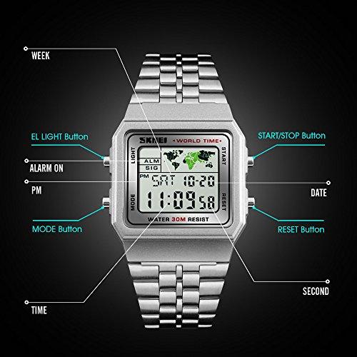 Men's Watch Black Multifunction Steel Belt Wrist Watches Classic Gifts Fashion Waterproof by FIZILI (Image #4)