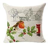 Keepfit Christmas Throw Flax Pillow Case Linen Square Printing Cute Bird Home Decorative Cushion Sofa Pillow Cover Tahnks Giving