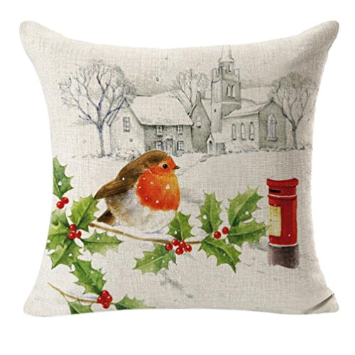 Keepfit Christmas Throw Flax Pillow Case Linen Square Printing Cute Bird Home Decorative Cushion Sofa Pillow Cover Tahnks - Map Of In Stores Square Times