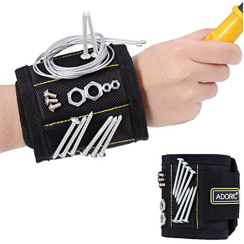 Adoric Magnetic Wristband Breathable Magnetic Wristband with 10 Magnets for Holding Screws Nails Drill Bits Idea for DIY Work for MenWomenHandyman Gift Black