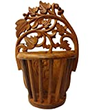 Onlineshoppee Sheesham Wood Hand Carved Wall Hanging Flower Vase