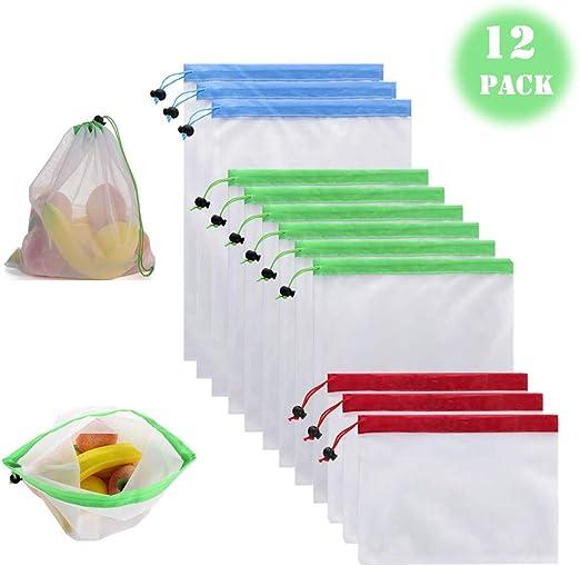 "20/"" 100 Reusable Nylon poly Mesh Produce net Grocery Bag Fruit Vegetable Storage"