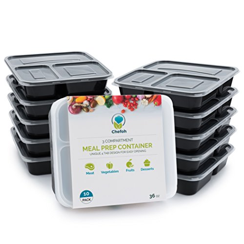 10-Pack 3 Compartment Meal Prep Containers with Lids, 32 oz