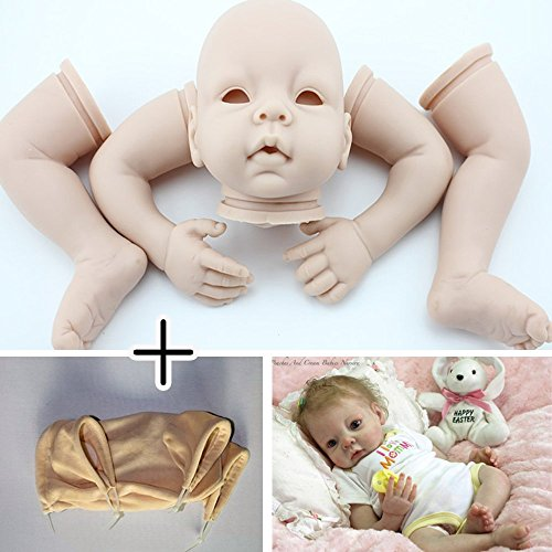 Unpainted Reborn Doll Kits(head,limbs and cloth body) Newborn Baby Model Set DIY,22-Inch Soft Vinyl Silicone - Reborn Baby Kit