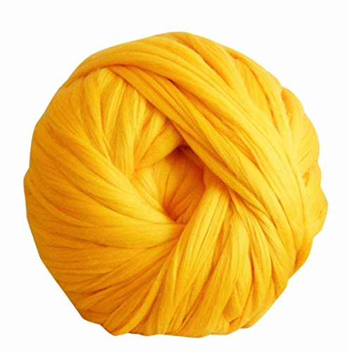 HomeModa Studio 100% Non-Mulesed Chunky Wool Yarn Big chunky Yarn Massive Yarn Extreme Arm Knitting Giant Chunky Knit Blankets Throws Grey White (250g, Yellow)