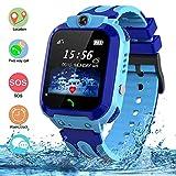 SZBXD Kids Waterproof Smart Watch, GPS Tracker Phone SOS Anti-Lost Alarm Sim Card Slot Touch Screen Voice Chat Smartwatch Birthday for Children Girls Boys (Blue)