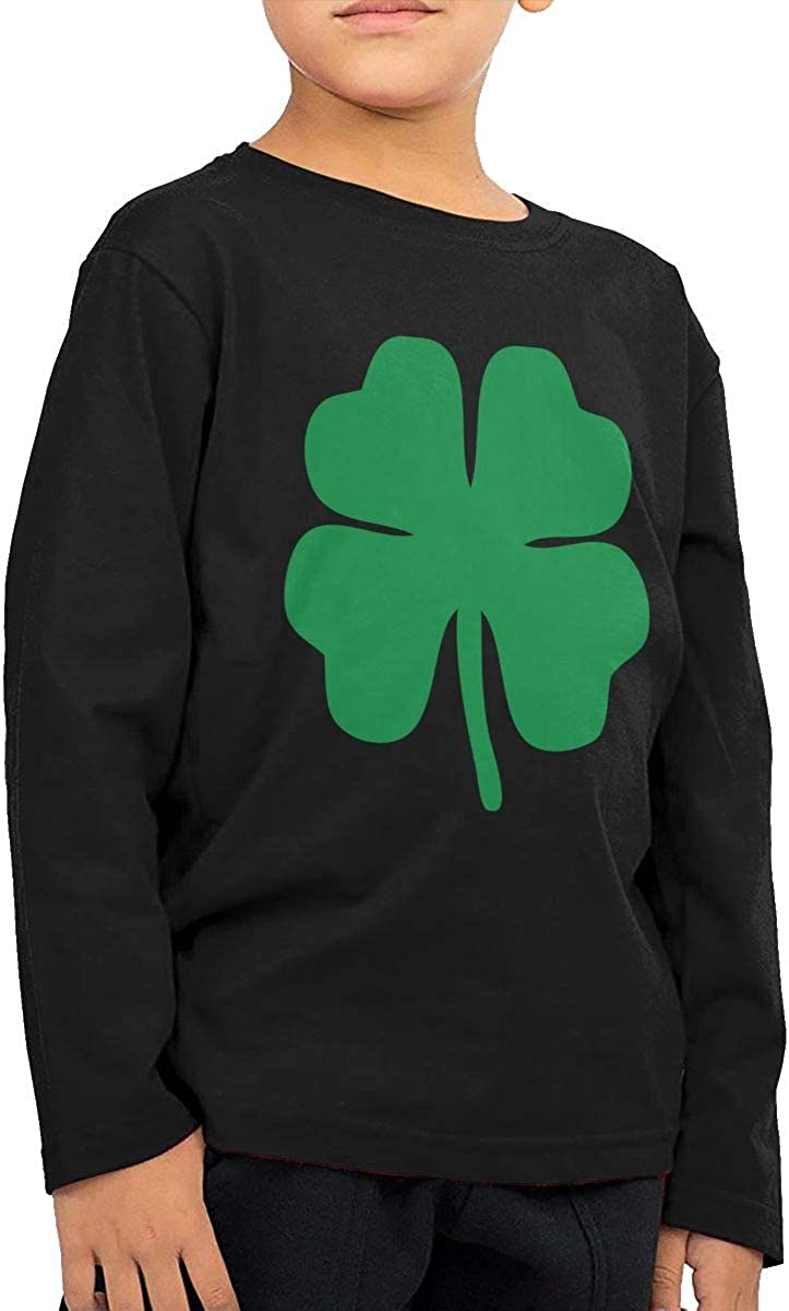 Baby Girls Little Boys Green 4 Leaf Clover ComfortSoft Long Sleeve Tee