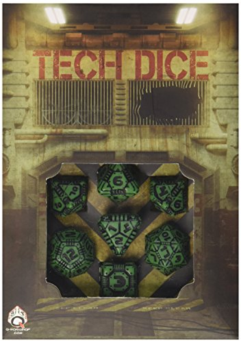 "Q Workshop QWOTEC15 Tech Dice Green/Black 7"" Card Game 3"