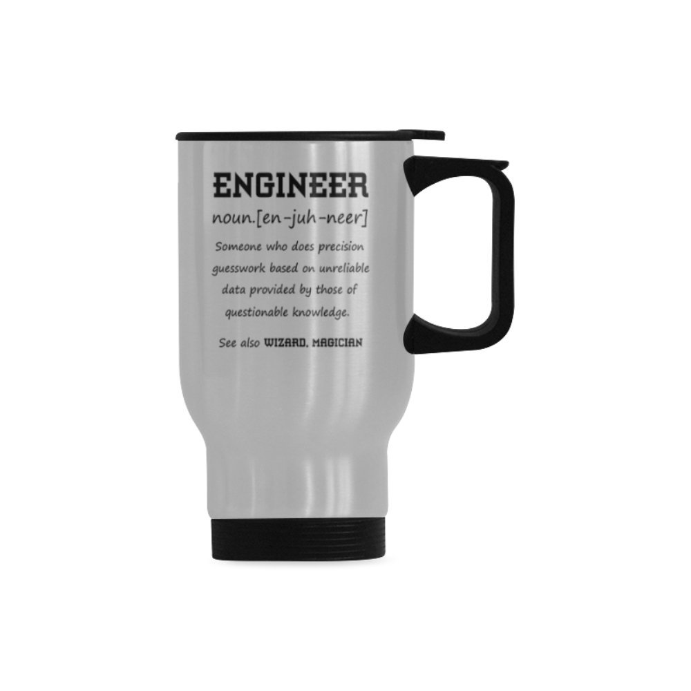 Funny Engineer Definition Stainless Steel Commuter & Travel Mug Perfect Birthday Gift For Friend Or Coworker Unique Christmas Present For Woman Gag Gift For Man Christmas Gift Office Humor Silver 14oz