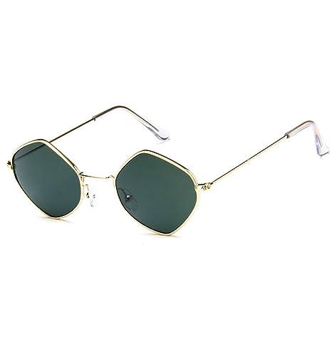 DaoRier Color Retro Prismatic Shape - Gafas de sol polarizadas UV400, metal, Verde,