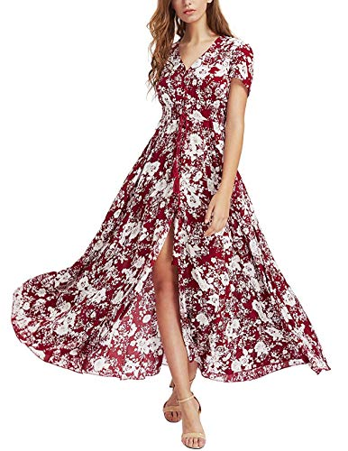 Junior Dresses Spring (Daxvens Women's Summer Boho Floral Maxi Dresses Button Up Split Flowy Beach Party Long Dress Burgundy)