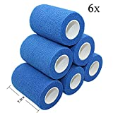 STpro Vet Wrap 3 inch x 6 Pack Blue Tape for Skin Bandage Tape Vet Tape Cohesive Bandage Fabric Bandages Self Sticking Bandage Wrap Self Adhering Bandage Wrap Bandage Stretch Self Adhesive Tape