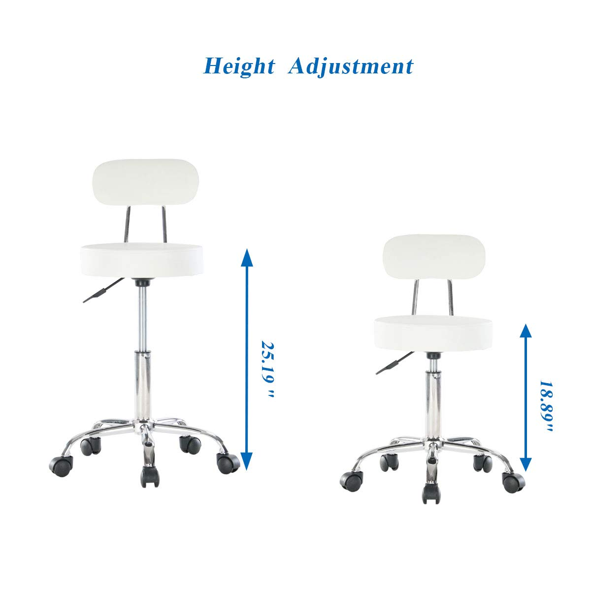 Artechworks Adjustable Rolling Swivel Massage Stool for Salon Spa Tattoo Facial Medical Office Chairs with Backrest Wheels and Metal Plate Frame White (1 Pcs)