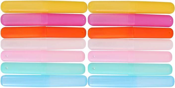 SUPVOX 14pcs estuches de plástico para cepillos de dientes a prueba de polvo soporte de caja de tubo de cepillo de dientes para acampar al aire libre: Amazon.es: Salud y cuidado personal