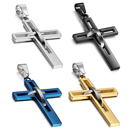 Oidea 4pcs Stainless Steel Hollow Cross Pendant Necklaces Jewelry,Black,Blue,Silver,Gold ()